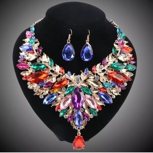 ✨Colorful Rhinestone Crystal Necklace Jewelry Set✨
